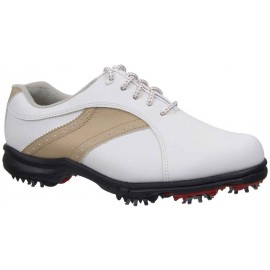 Zapatos FootJoy GreenJoy para dama blanco y habano ancho medio