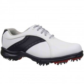 Zapatos FootJoy GreenJoy para dama blanco y negro ancho medio
