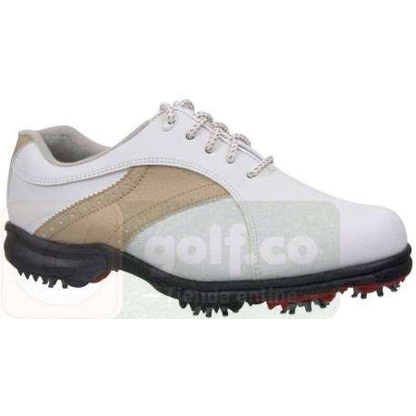 Zapatos FootJoy GreenJoy para dama blanco y habano ancho medio