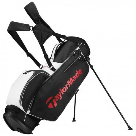 Talega de golf TaylorMade negra blanca y rojo 5.0 de patitas y parar stand golfco palos de golf
