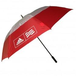 """Sombrilla de golf Adidas Ø 62"""" doble dosel roja y blanco 173cm golfco tienda de golf"""