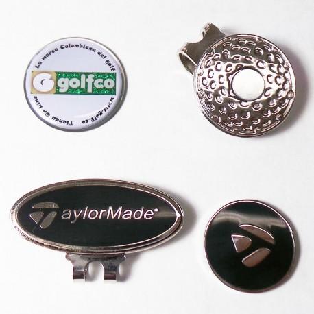 Combo clip marcador golfco y taylormade negro para gorra de golf