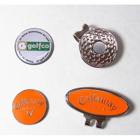 Combo clip marcador golfco y callaway naranja para gorra de golf
