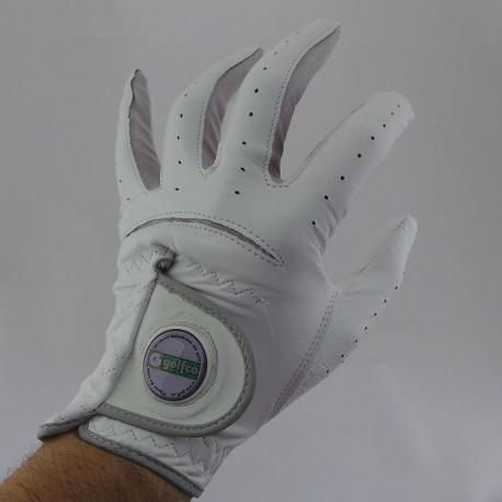 Guante de golf golfco M mediano cuero cabretta con marcador de green