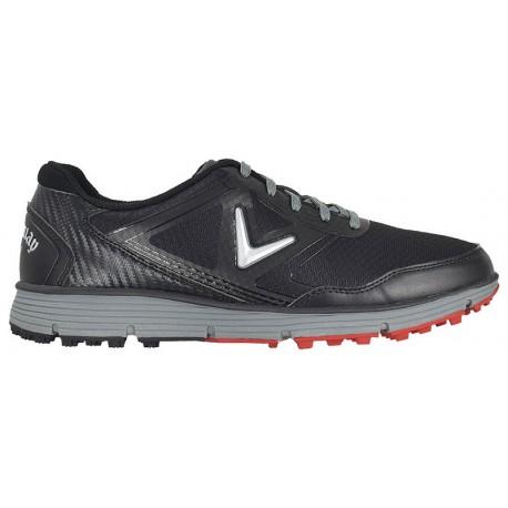 Zapatos de golf Callaway 9.5W Balboa Vent Negros con gris Hombre sin spikes golfco