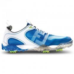 Zapatos de golf FootJoy 9M blanco y azul Freestyle Hombre con spikes en golfco tienda de golf