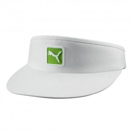 Visera de golf Puma blanca y logo verde ajustable gorra de golf