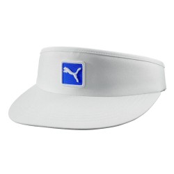 Visera Puma blanca y logo azul Cat Patch ajustable