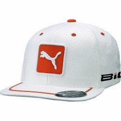 Gorra de golf Puma blanca y naranja Pro Tour Cat Patch 110 ajustable
