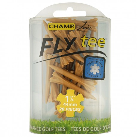 Tees de golf Plásticos 45mm 1 3/4¨ Champ-Fly cortos color madera 20 Und