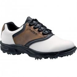 Zapatos FootJoy 11M Blanco/Café GreenJoys Hombre con Spikes