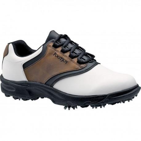 Zapatos de gllf FootJoy Ancho 10.5W Blanco/Café GreenJoys Hombre