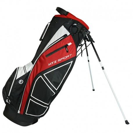 Talega de golf Hot Z Negra con Rojo Sport Stand de parar o patitas palos de golf