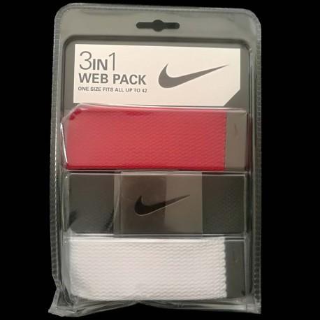 Cinturón de golf Nike 3-Pack tres unidades Rojo/Negro/Blanco Talla Ajustable hasta 42