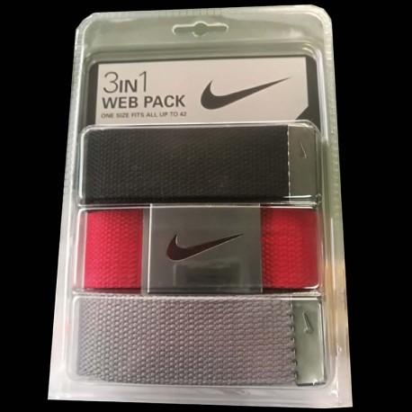 Cinturón de golf Nike 3-Pack tres unidades Negro/Gris/Rojo Talla Ajustable hasta 42