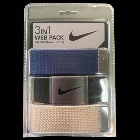 Cinturón de golf Nike 3-Pack tres unidades Azul Navy/Negro/Khaki Talla Ajustable hasta 42