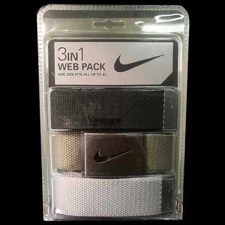 Cinturón de golf Nike 3-Pack tres unidades Negro/Verde/Gris Talla Ajustable hasta 42
