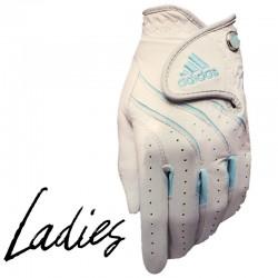 Guante de golf Adidas DAMA L grande Adistar cuero blanco con azul