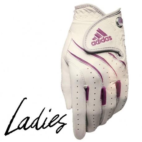 Guante de golf Adidas DAMA L grande Adistar cuero blanco con rosado