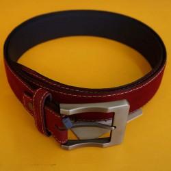 Cinturón rojo cuero y gamuza talla ajustable hasta 40