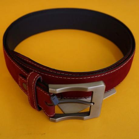 Cinturón de golf rojo cuero y gamuza talla ajustable tienda de golf