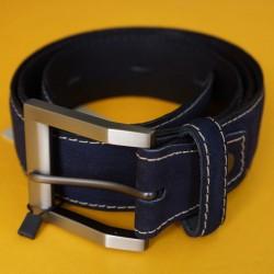 Cinturón azul cuero y gamuza talla ajustable hasta 40
