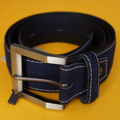 Cinturón de golf azul cuero y gamuza talla ajustable