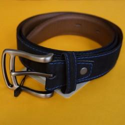 Cinturón negro cuero y gamuza talla ajustable hasta 40