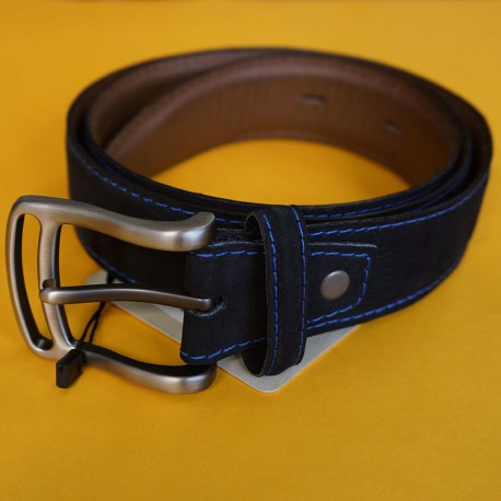 Cinturón de golf negro cuero y gamuza talla ajustable