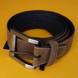 Cinturón café cuero y gamuza talla ajustable hasta 40