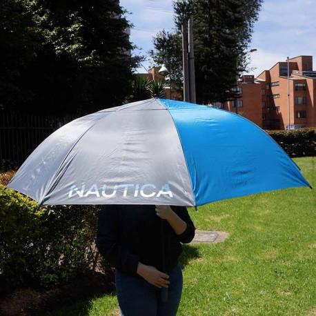 """Sombrilla de golf Náutica 68"""" 173 cm azul y gris automática doble toldo o dosel nylon"""