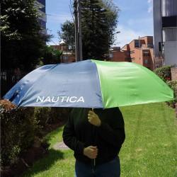 """Sombrilla de golf Náutica 60"""" 152 cm azul y verde automática toldo sencillo nylon"""