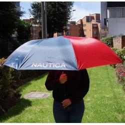 """Sombrilla de golf Náutica 60"""" 152 cm azul y roja automática toldo sencillo nylon"""