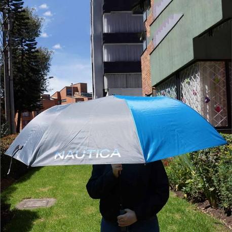 """Sombrilla de golf Náutica 60"""" 152 cm azul y gris automática toldo sencillo nylon"""