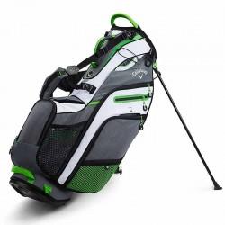 Talega de golf Callaway Fusion 14 Gris blanca y verde de cargar y Patitas