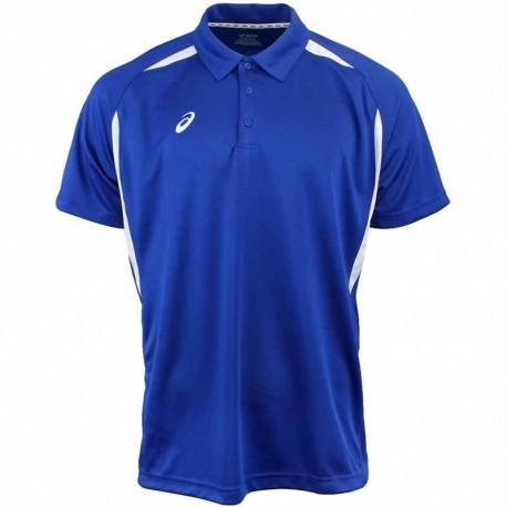 Camiseta de golf Asics S Pequeña Azul Royal con blanco hombre Resolution Polo