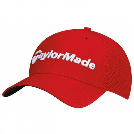 Gorra de golf TaylorMade S/M roja performance cage fitted hat