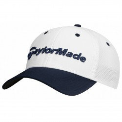 Gorra de golf TaylorMade S/M blanca y azul navy performance cage fitted hat