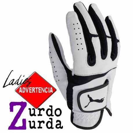 Guante golf Puma DAMA ZURDA S pequeño Blanco y Negro Flexlite Performance