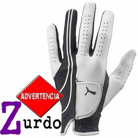 Guante de golf Puma ZURDO ML medio grande Blanco y Negro Form Strip Performance Cuero cabretta