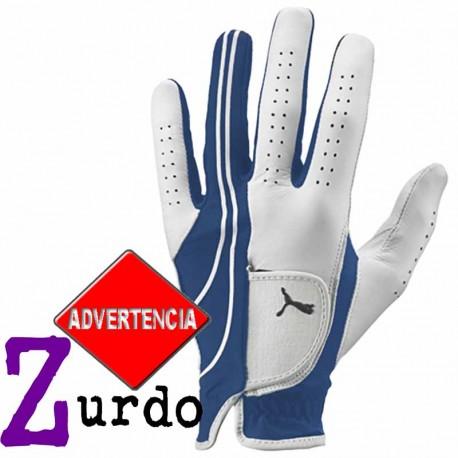 Guante de golf Puma ZURDO L grande Blanco y Azul Form Strip Performance Cuero cabretta