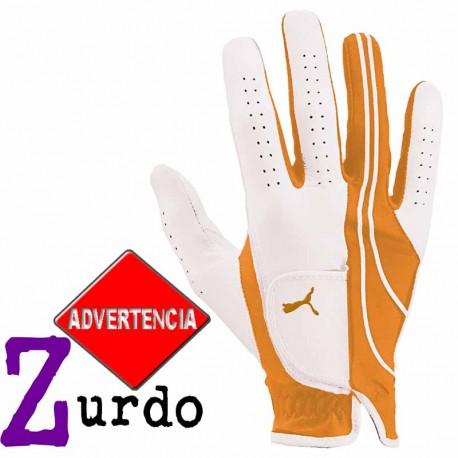 Guante golf Puma ZURDO L grande Blanco y Naranja Form Strip Performance Cuero cabretta