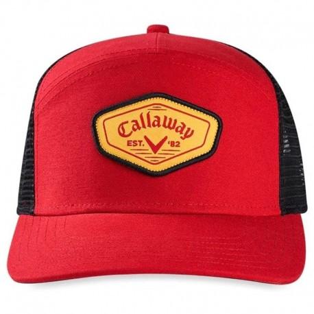 Gorra de golf Callaway roja y negra Trucker Estilo Clásico ajustable