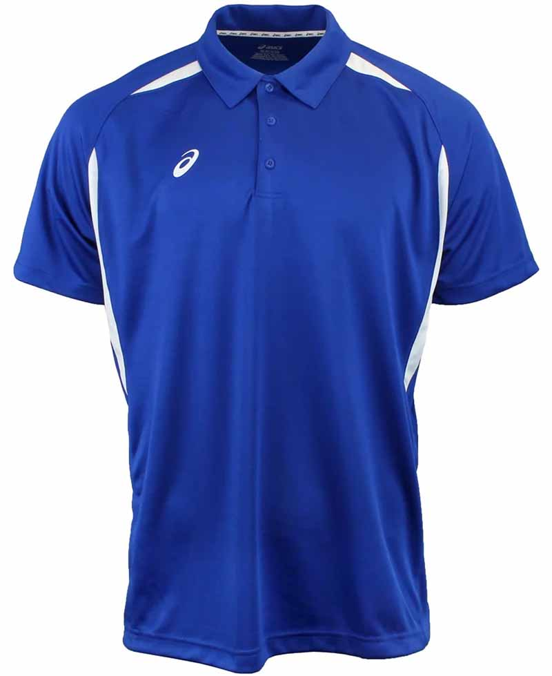 Camiseta de golf asics azul royal y blanco resolution polo 01