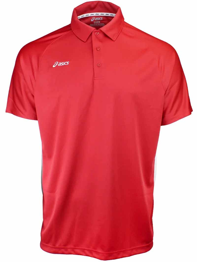 Camiseta de golf asics roja blanco Corp 01